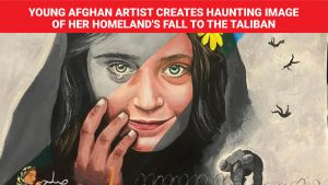 Young Afghan artist creates haunting image Taliban