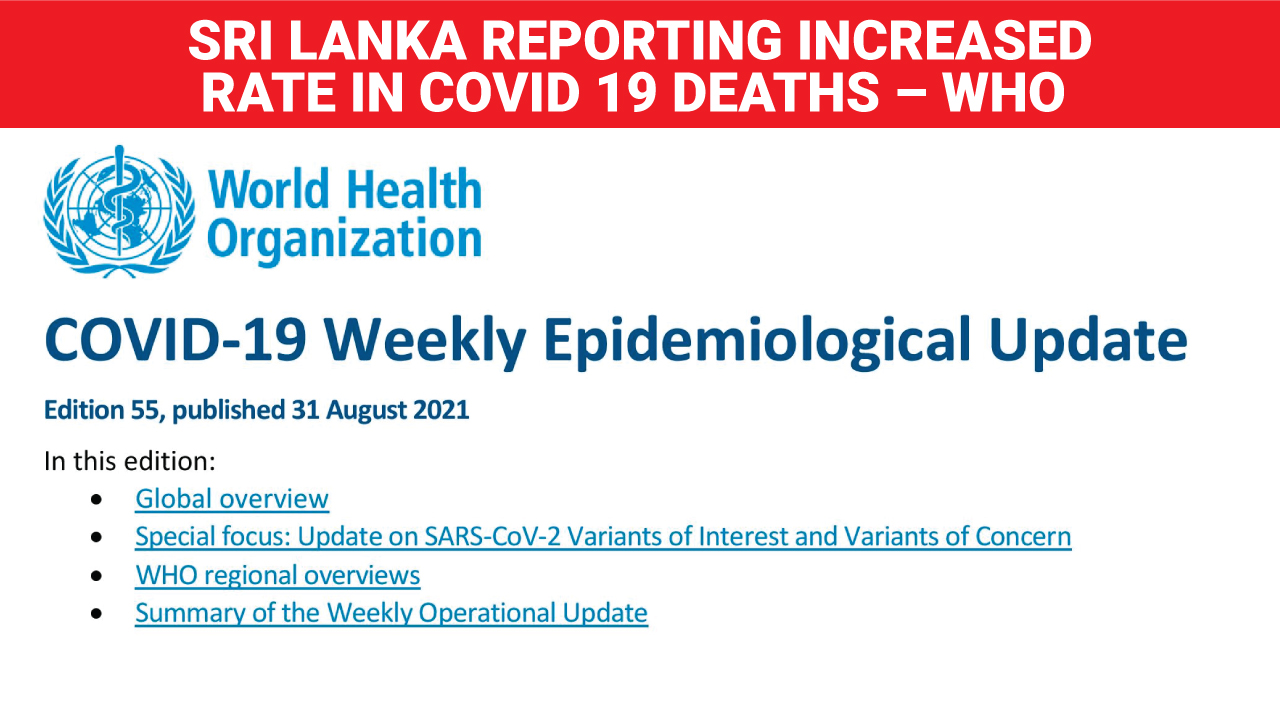 Sri Lanka reporting increased rate in Covid 19 deaths WHO